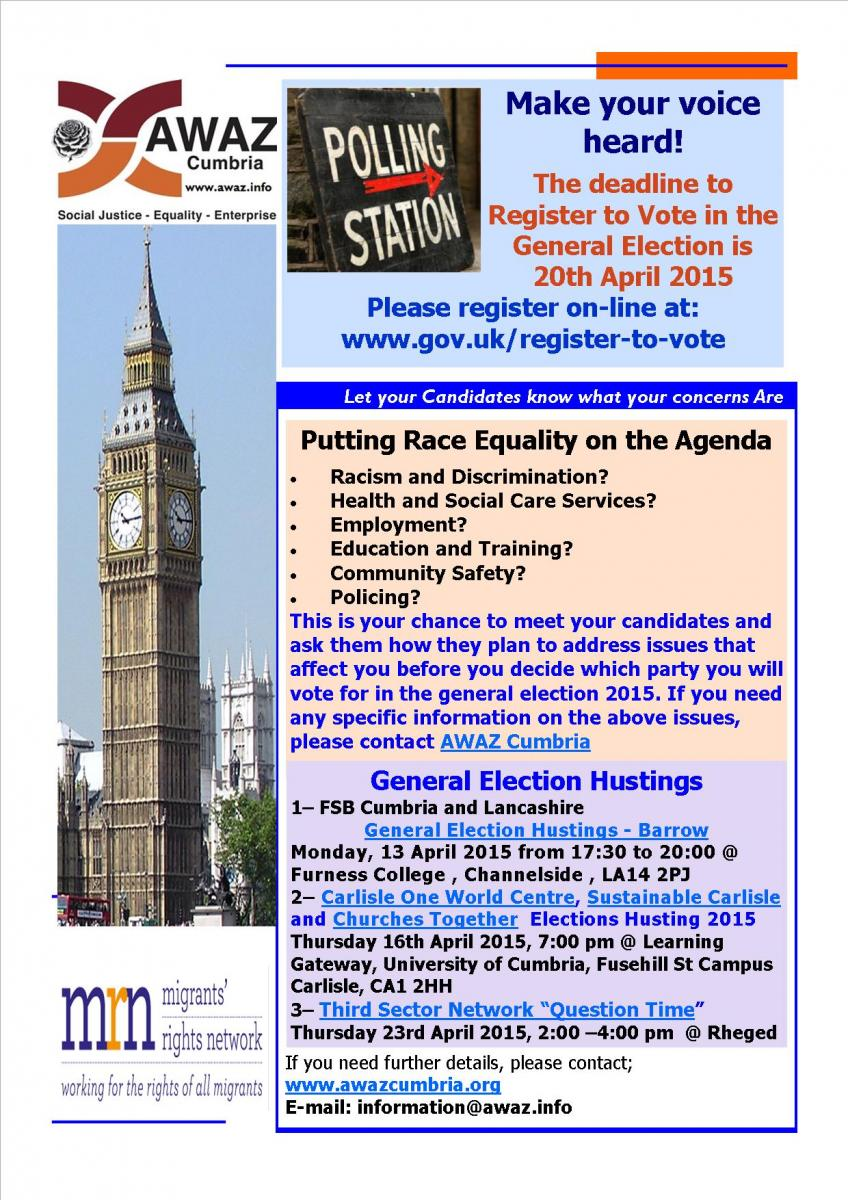 AWAZ information Flyer BME Voter Registration Campaign in Cumbria